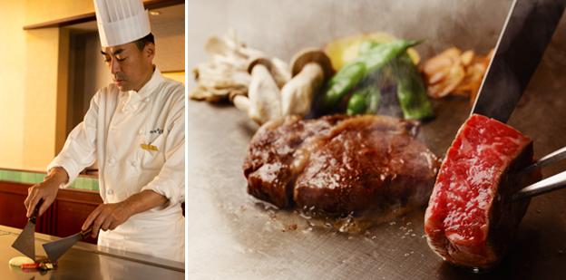 (左)鉄板焼なにわシェフ 柿原 雄治 (右)料理イメージ