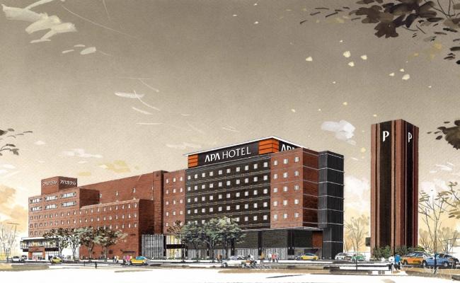 アパホテル〈岡山駅東口〉新館 完成予想パース