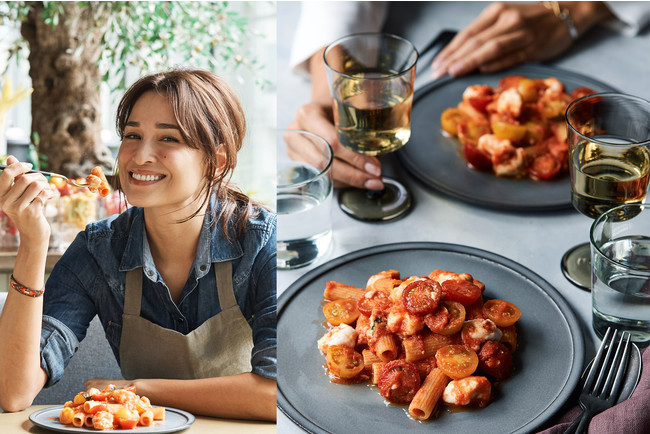 Kelly × Cosme Kitchen Adaptation (右)ヴィーガンモッツァレラと熊本トマトの自家製ソース リガトーニ