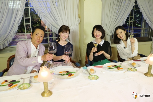 左から)三田村邦彦、  山口実香、  小塚舞子、  斉藤雪乃