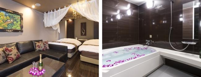 (左から)3位「ホテル パセラの森 横浜関内」の女子会プランで予約できる客室と、フラワーバスの一例。