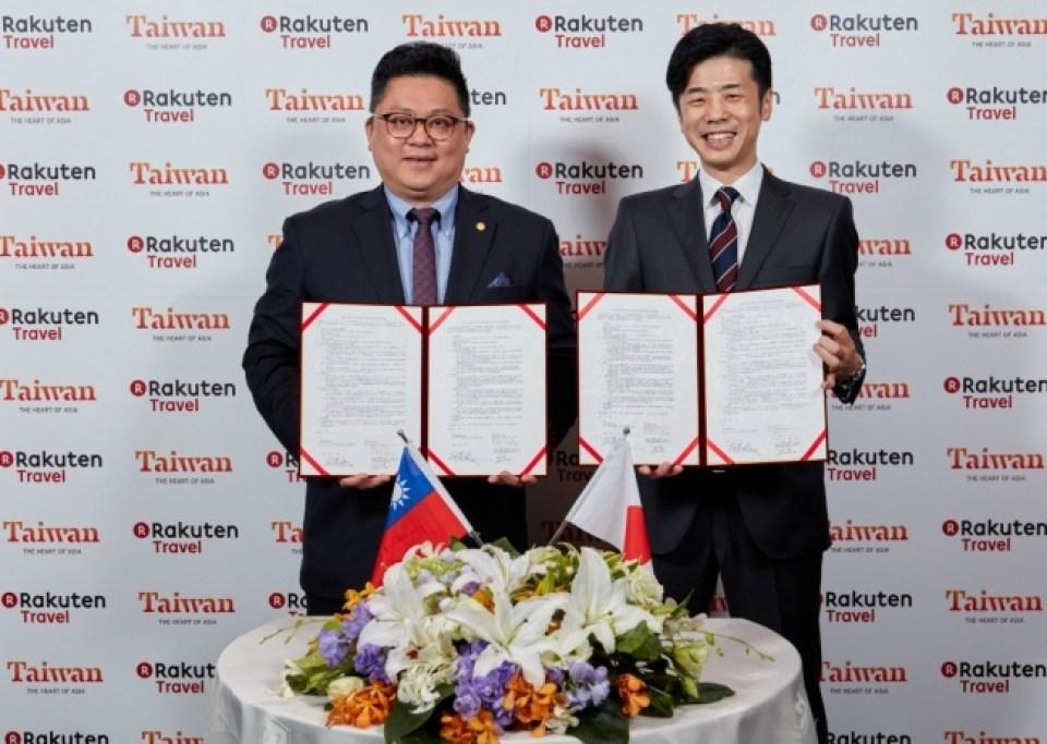 (写真左から)台湾観光局副局長の劉喜臨氏、楽天株式会社 トラベル事業部 事業長の高野芳行。