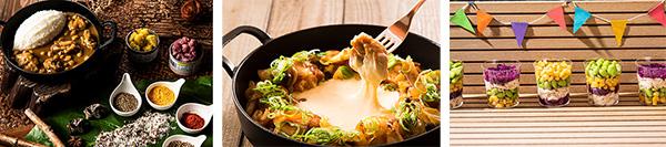(左から)チキンとひよこ豆のスパイスカレー&ライス、  トッポギ入りチーズダッカルビ、  鶏むね肉のチョップドサラダ