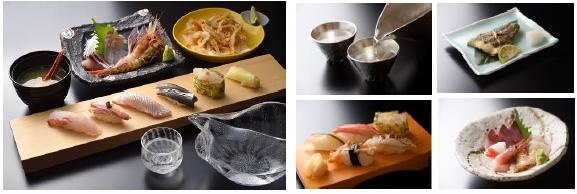 富山湾鮨一献セット(富山湾で水揚げされた地魚と富山県が誇る県産米を使用した富山湾鮨と地酒のセット)
