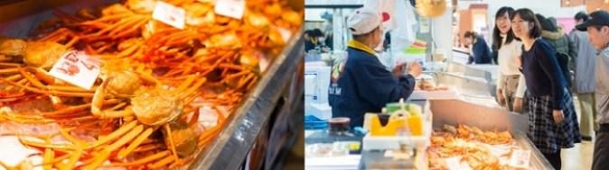 昼セリで仕入れた魚介類が厨房に直送