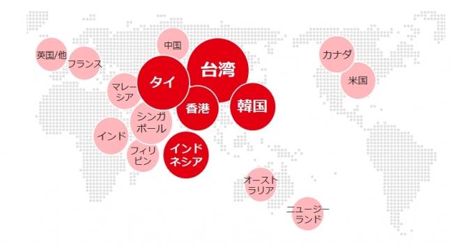 訪日外国人TOP10の国と地域を全てカバー。アジアを中心に拡大中