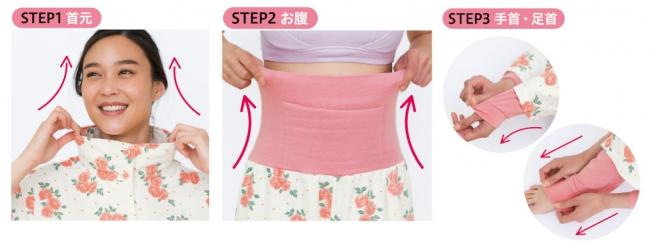 『快眠スイッチ温パジャマ』の3STEP