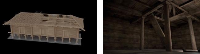 (左)「正倉」の構造と(右)VR正倉内部。総檜造りの質感までわかる。