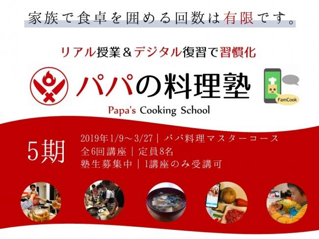 パパの料理塾 5期生 2019年1月9日開講のコースから、リアル&デジタル料理教室に