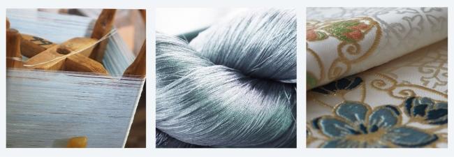 現場の職人が一色ひと色丁寧に染め上げた絹糸の美しさが魅力です。