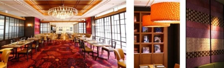 メインホールの赤いカーペットや壁紙、ランプシェードには、江戸時代から続く国指定の伝統工芸品【有松絞り】を使用し、現代風にアレンジしてデザインしたもの