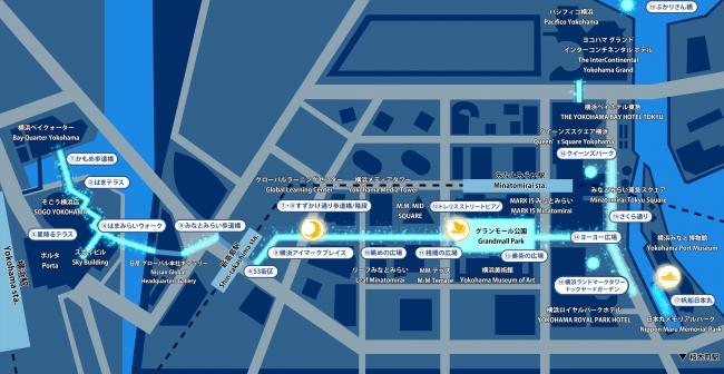 <横浜駅東口〜さくら通り イルミネーションMAP>