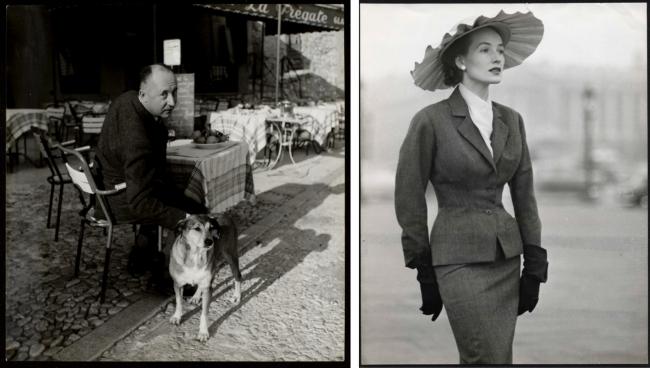 左:クリスチャン・ディオールと愛犬のボビー。 (C)AGIP Bridgeman Images  右:1953春夏 オートクチュール コレクションより、 「ボビー」と呼ばれたスーツ。 (C)Association WILLY MAYWALD ADAGP 2020