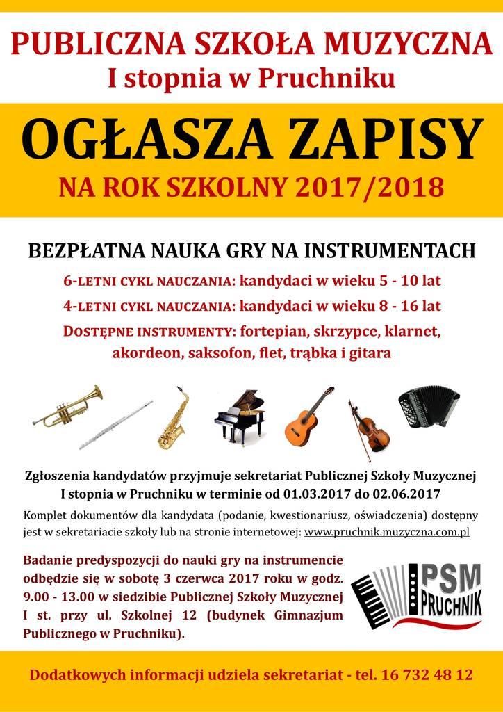 Plakat zapisy Pruchnik PSM 2017
