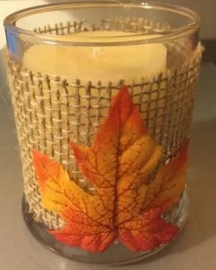 maple leaf burlap candle holder