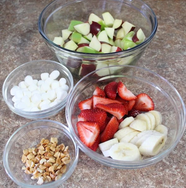 Creamy Peanut Butter Fruit Salad Ingredients