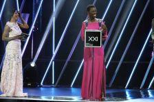 Songstress Lira accepting SAMA award in Sun City. Picture CREDIT: Bafana Mahlangu