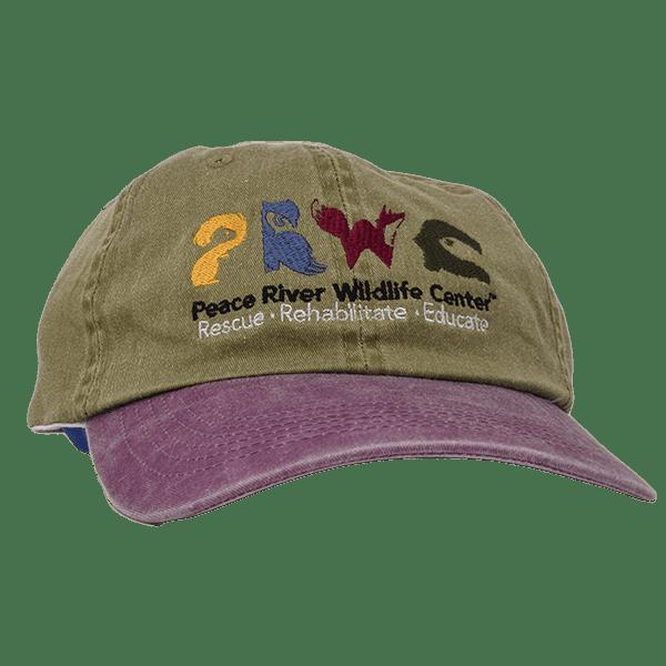 Khaki Baseball Cap w Logo Lavender Visor