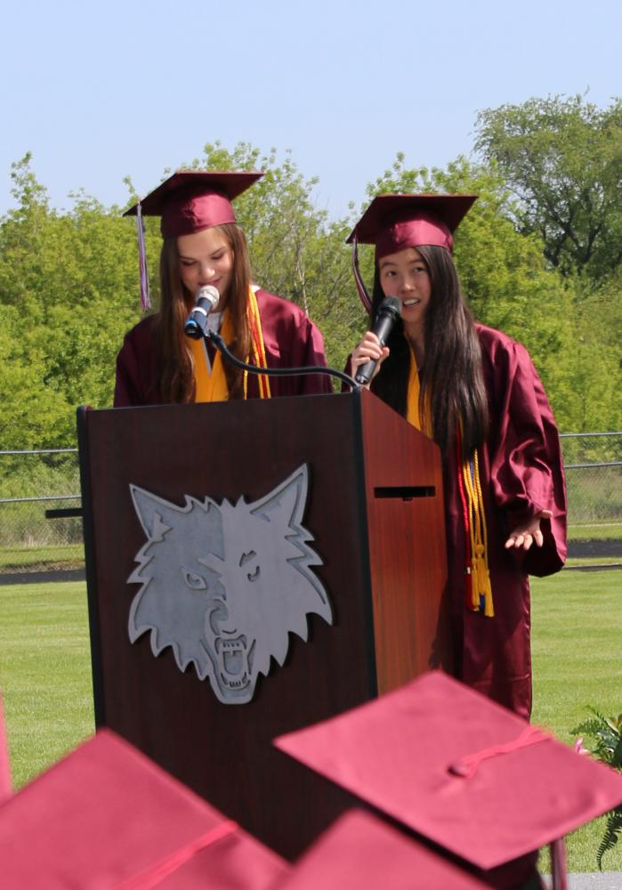 Alli Jepsen and Annie Qiu debated whether a cup of Starbucks or a bowl of rice was the better metaphor for high school.