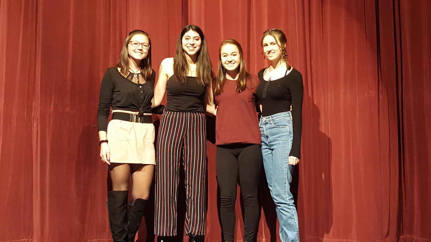 The winners of the Creative Writing poetry slam pose for a picture. From left to right: Isabelle Myers, Justine Golata, Katie Svehla, Abbey Connolly