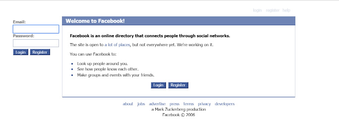 Web.Archive.Org - WayBack Machine - Facebook, August 23, 2006
