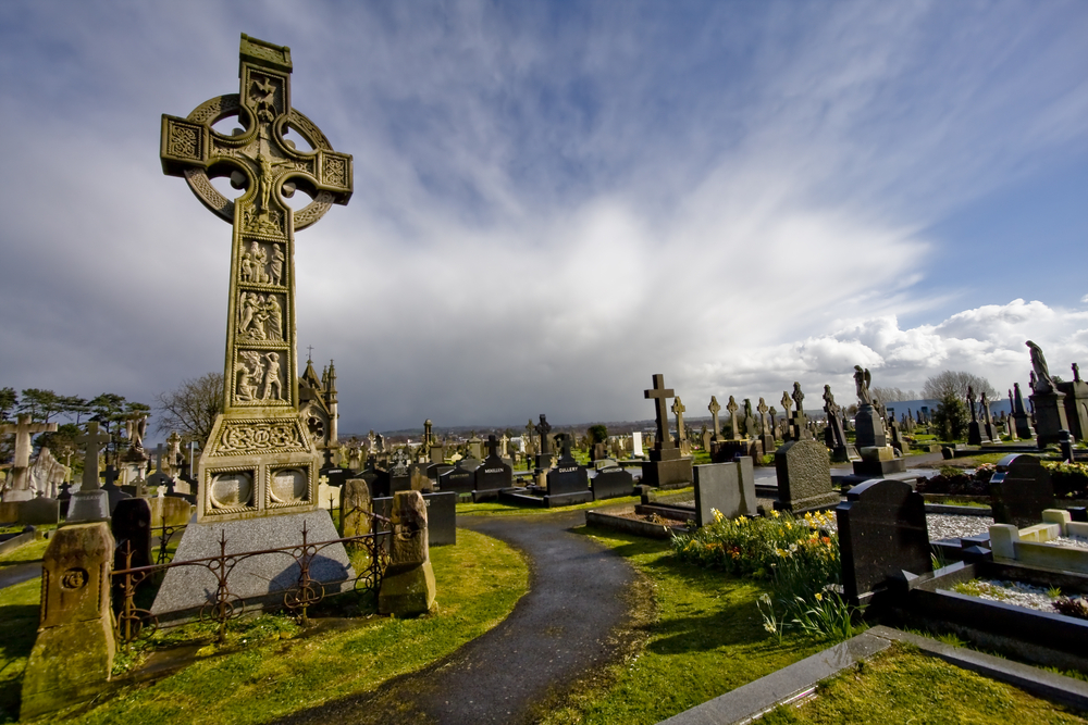 Halloween History - old cemetery in Belfast - with Celtic crosses