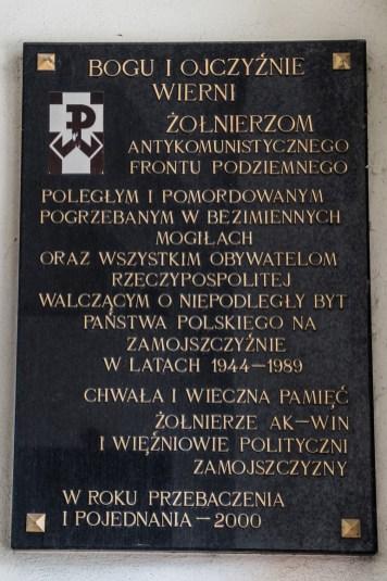 Zamość - tablica pamiątkowa w dzwonnicy