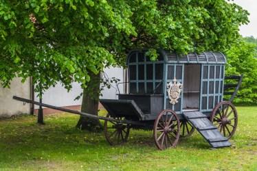 niebieski konny wóz pocztowy pod drzewem