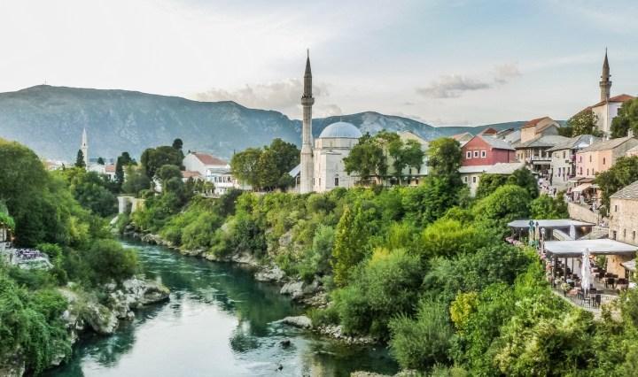 panorama miasta z Mostu Pojednania - z dubrownika do mostaru