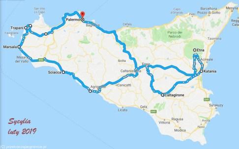 Sycylia - Mapka z trasą podróży