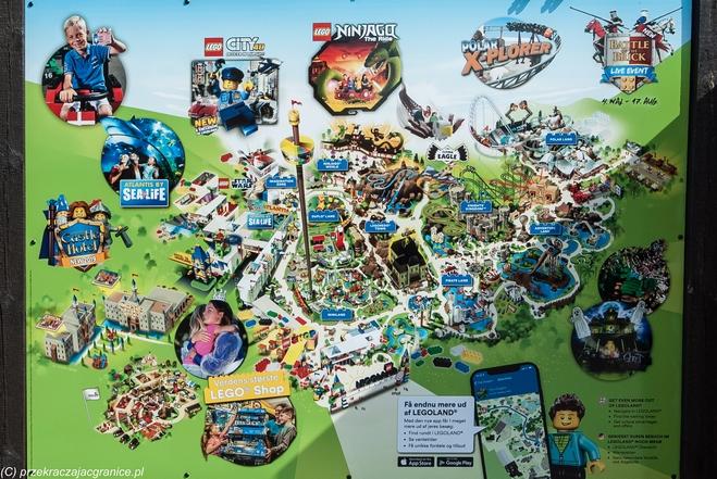 Mapa atrakcji Legolandu w Billund