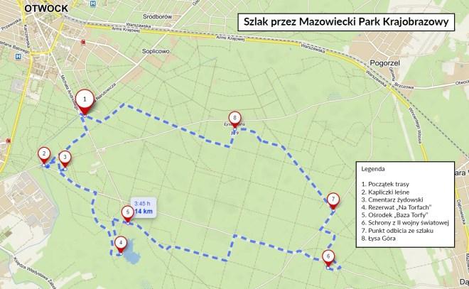 Mazowiecki Park Krajobrazowy - mapa szlaku
