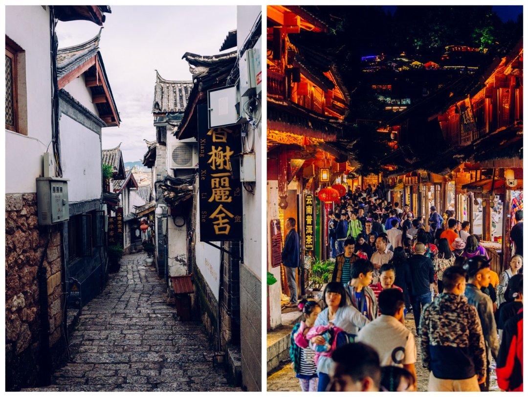A tu uliczka wLijiang zadnia iwieczorem. Widać różnicę, prawda?