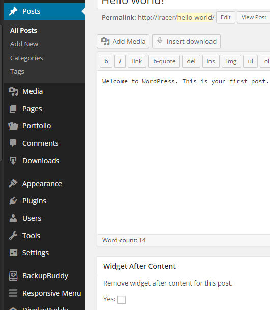 wordpress add widget after content
