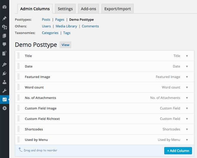 Admin Columns Screenshot