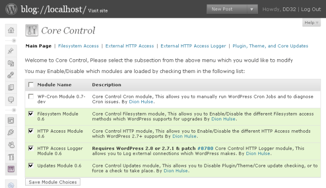 Core Control main page
