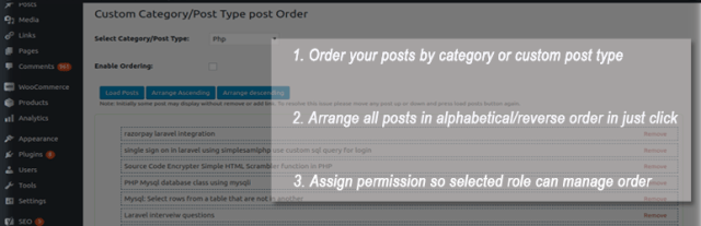 Custom post order category