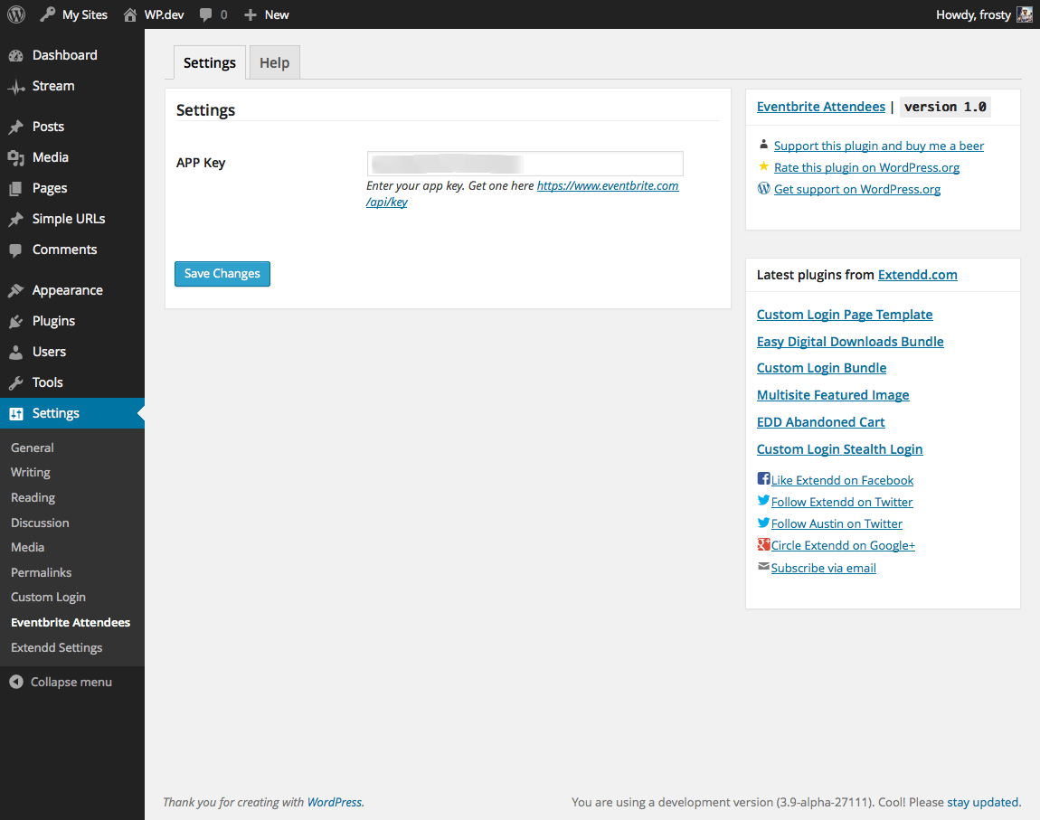 Eventbrite Attendees Shortcode Settings page.