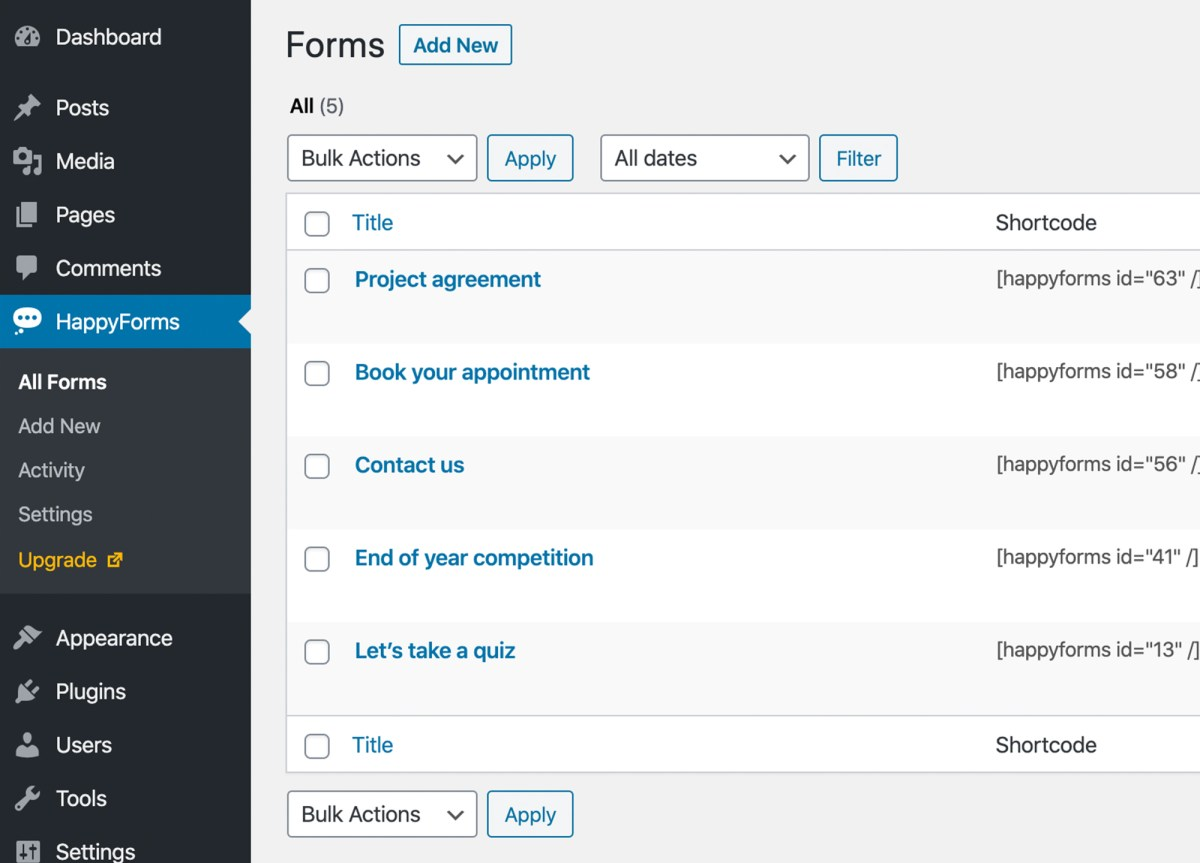 Contact Form to Manage and respond to conversations with customers — HappyForms Screenshot