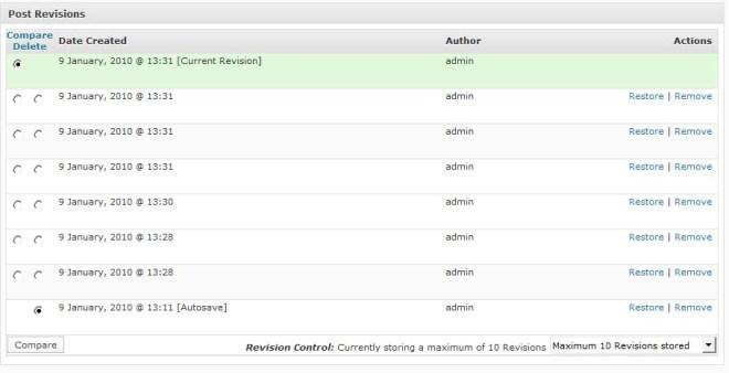 The Revisions Meta box