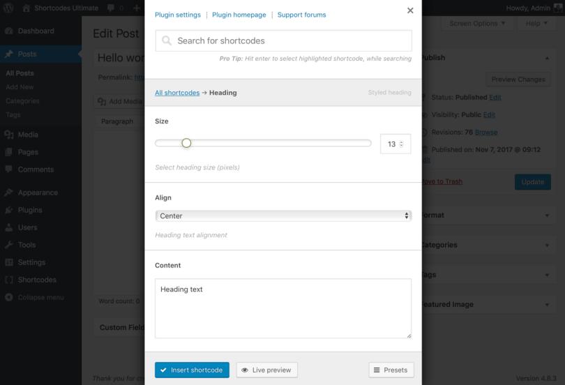 Shortcodes Ultimate Screenshot