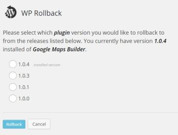 WordPress Rollback plugin