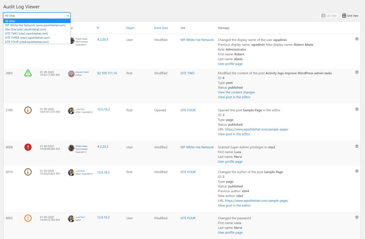 WP Security Audit Log Screenshot