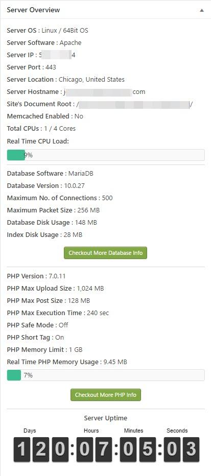 WP Server Health Stats Capture d'écran
