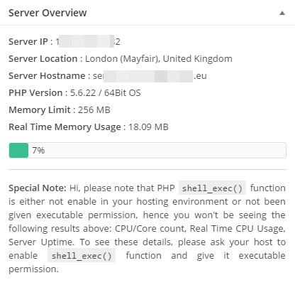 WP Server Stats Capture d'écran