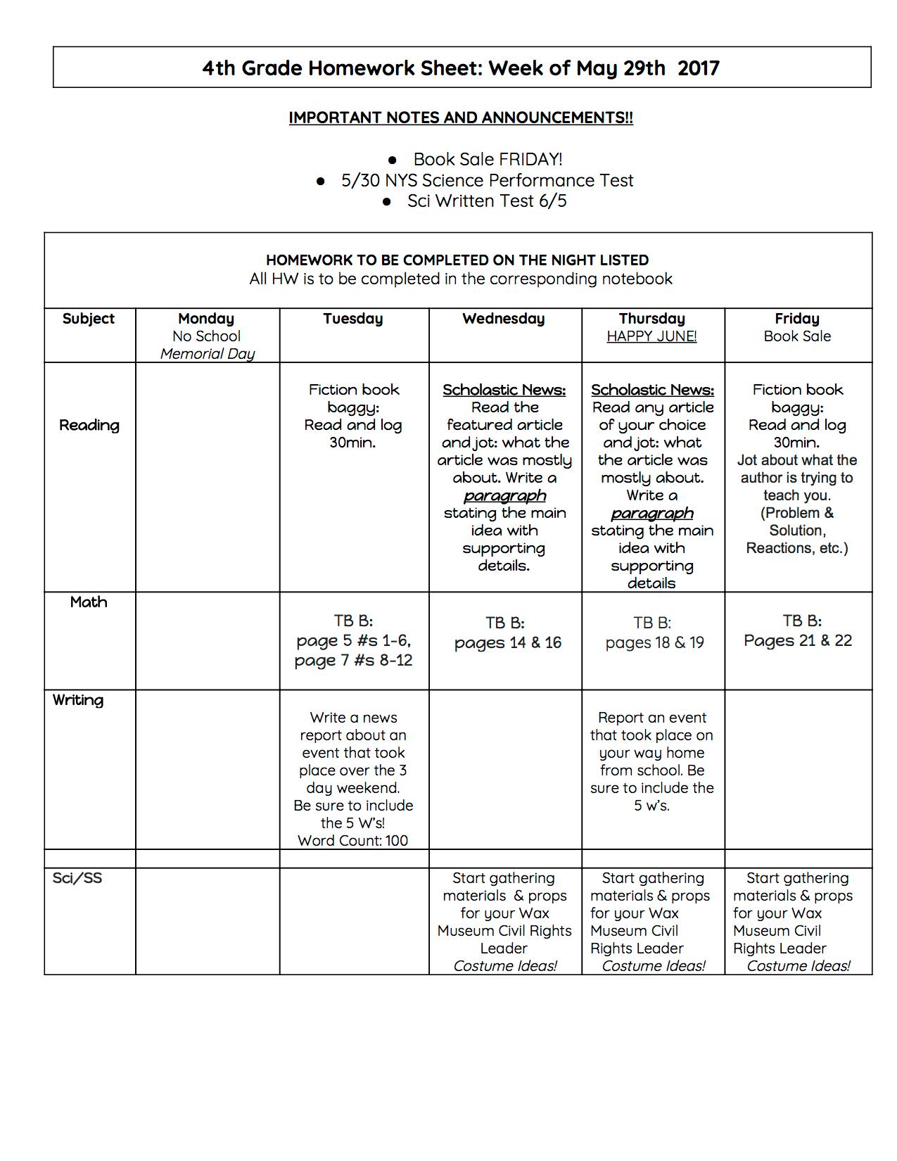 4th Grade Homework For Week Of 5 29 17 Taots
