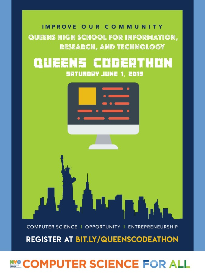 Queens Codeathon Poster - Saturday June 1, 2019. Register at bit.ly/queenscodeathon