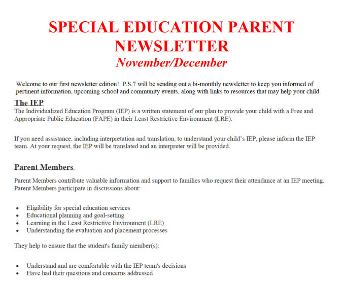 Special Education Newsletter Nov/Dec 2019