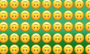 Rows of upside down smiley face emojis
