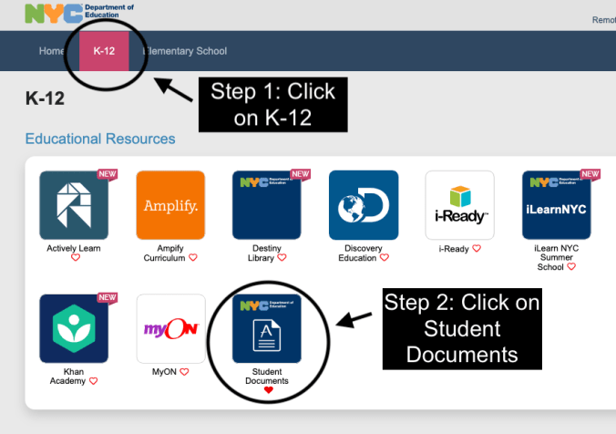 K-12 landing page on Teach Hub. Click the K-12 tab, then click on Student Documents.